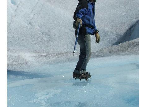 Walking on the Perito Moreno Glacier.